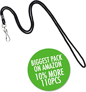 "Premium Bulk Lanyards by Lucky Lanyards | 110 lanyards unit pack | BLACK| Black Lanyards 38"" with Swivel Hook