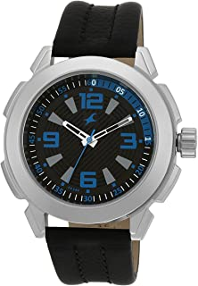 Fastrack Black Men Analogue Leather Band Watch - 3130Sl02