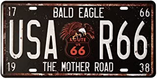 ERLOOD Bald Eagle Route US 66 USA-R66 The Mother Road Metal Tin Signs Vintage Coffee Wall Coffee & Bar Decor,Size 12 X 6
