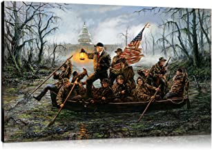 Lihuaiart Donald Trump,Crossing,The Swamp Wall Art Home Wall Decorations for Bedroom Living Room Oil Paintings Canvas Prints 3 sizes-273 (Framed,12x18inch)
