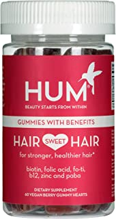 HUM Hair Sweet Hair Gummies - Hair Growth Vitamins with 5000mcg Vegan Biotin, B Vitamins, Fo-Ti & Zinc - Hair Supplement -...