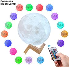 CPLA Upgraded Version Seamless 3D Lamp led Night Stepless Dimmable Remote & Touch Control Moon Light 16 Colors RGB for Baby Room 5.8inch, 5.8 Inch