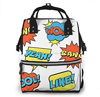 Multi-Function Travel Bags, Baby Diaper Bag Backpack For Mom, School Bags Large Capacity,Waterproof And Stylish Personalized Design - Comic_Super_Hero_Speech_Bubbles
