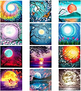 XPCARE 12 Pack 5d Diamond Painting Kits Round Full Drill Acrylic Embroidery Cross Stitch for Home Wall Decor Moon(Canvas 1...