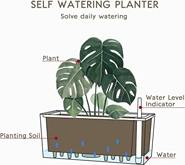 """SAROSORA 14"""" Rectangle Self Watering Planter with Water Level Indicators for Plants & Flower Home Garden Outdoor Indo"""