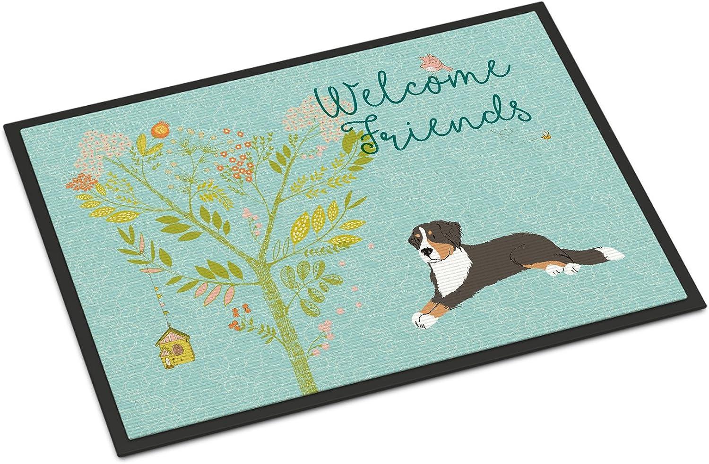 Caroline's Treasures Welcome Friends Bernese Mountain Dog Doormat, 24hx36w, Multicolor