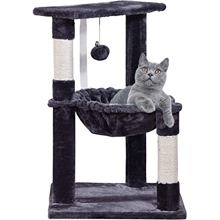 Faboer Cat Scratching Post Bed Activity Centre Toys Grey Sisal Play Scratcher 40cm UK