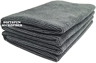 SOFTSPUN Microfiber Cleaning Cloth (Pack of 2) 40 cm x 60 cm, 340GSM, Grey
