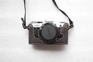 Handgemaakte Echt Lederen Half Camera Case Tas Cover voor Canon AE-1 Donkerbruin