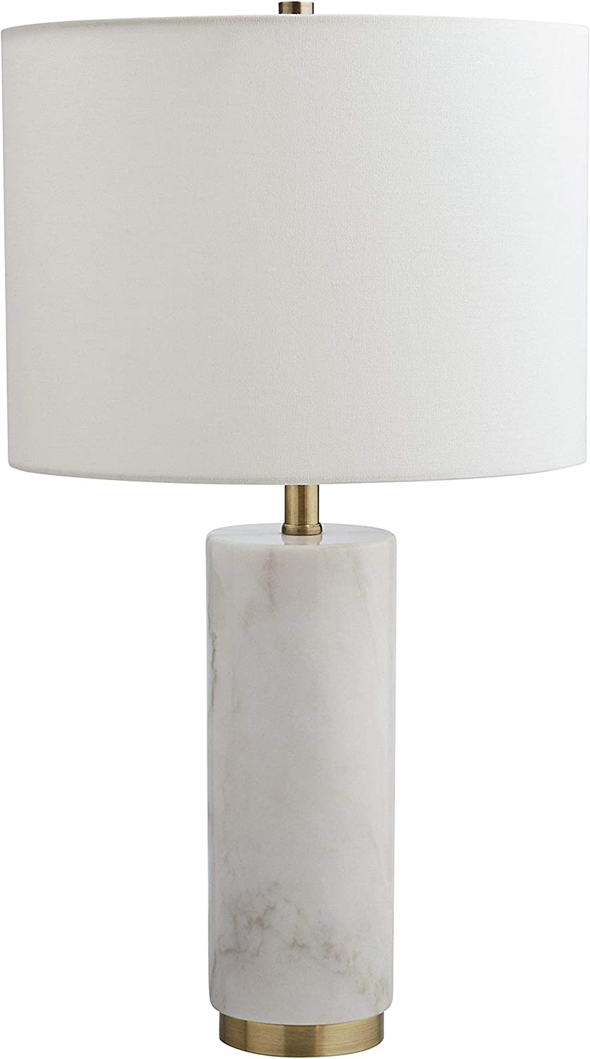 Rivet Modern Marble Table Lamp, 22 H, With Bulb, White with Linen Shade