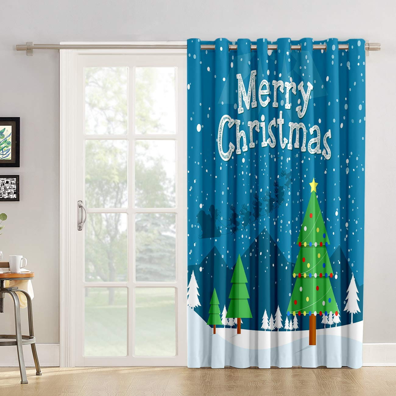 Cortinas de cocina con diseño de Papá Noel para salón, dormitorio, Navidad, Noel, alce nocturno, trineo y Papá Noel, cortina de tela para puerta corredera de cristal o patio: Amazon.es: Hogar