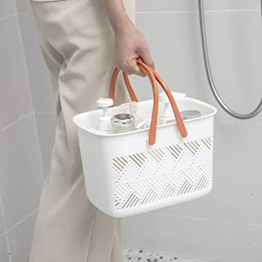 Portable shower caddy Tote, Plastic Storage Caddy Basket with Handle for College, Dorm, Bathroom, Garden, Cleaning Supplies,