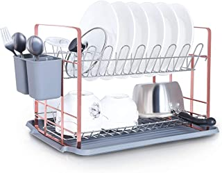GaoYu Rose Gold Dish Drying Rack, Chrome-plated Stainless Steel 2-Tier Dish Rack with Drainboard/Cutlery Cup (square)