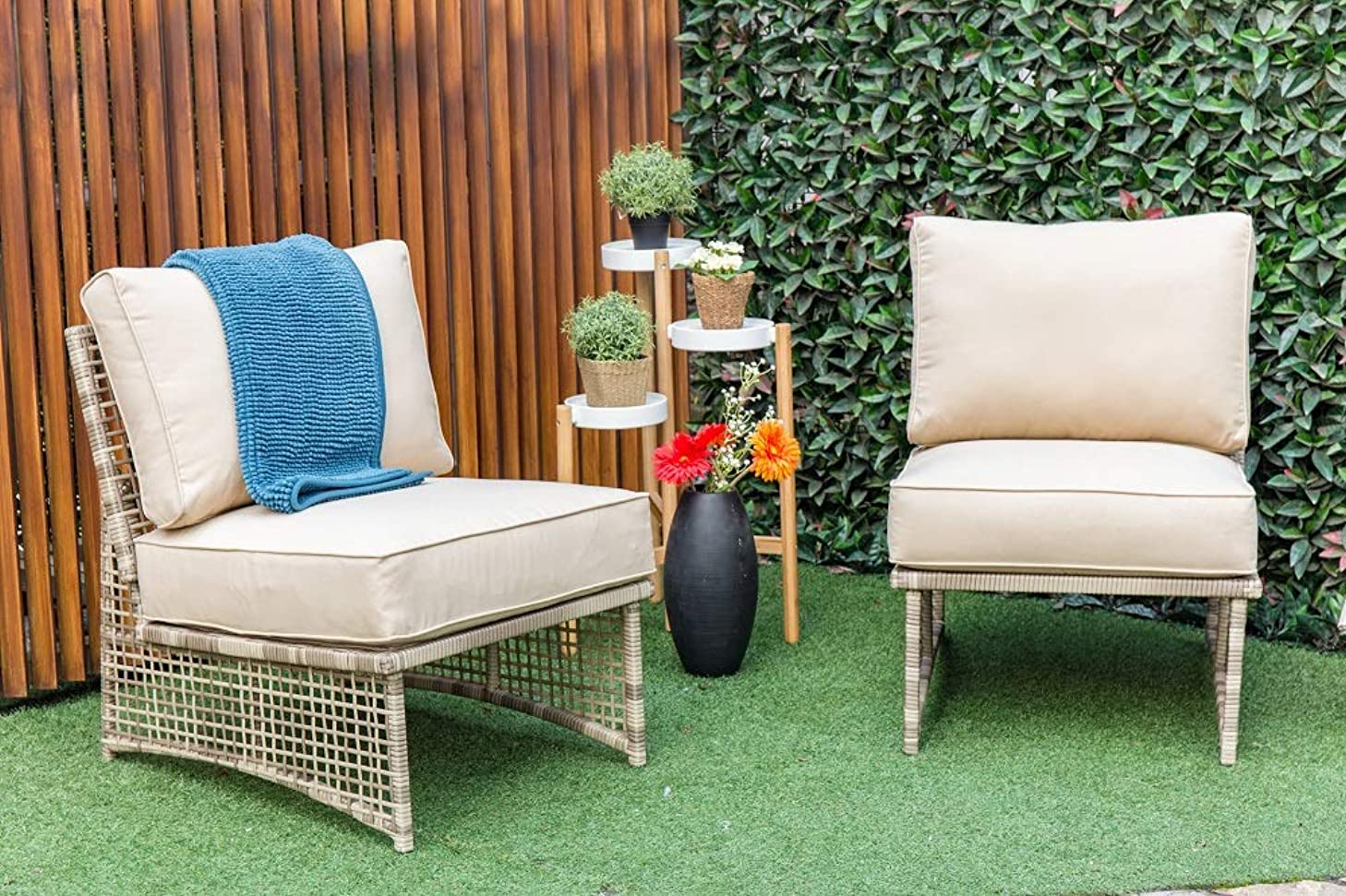 Gopatio 2 Pcs Patio Furniture Set - Outdoor Rattan Patio Chairs with Thick Cushions - Armless Sectional Sofa with Powder-Coated Steel Frame (Beige)