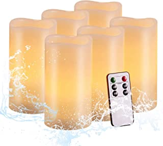 """Flameless Candles,Salipt LED Flickering Candles Set of 6 (H 6"""" xD 3"""") Battery Operated Candles,Waterproof Flameless Candles, Resin Plastic, Indoor Outdoor Use, Batteries Included, lvory Tend Yellow"""
