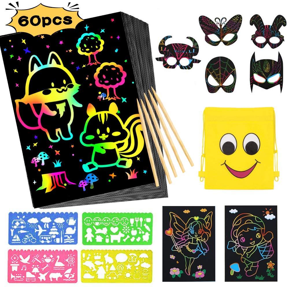 Scratch Art,Coolba 52 Hojas Dibujo Scratch Paper Laminas Y 6 Laminas Rascar Mágico Negro Papel de Animales Máscaras para Dibujo Infantil Y DIY Manualidades Rascar para Niños con 4 Plantillas de Dibujo:
