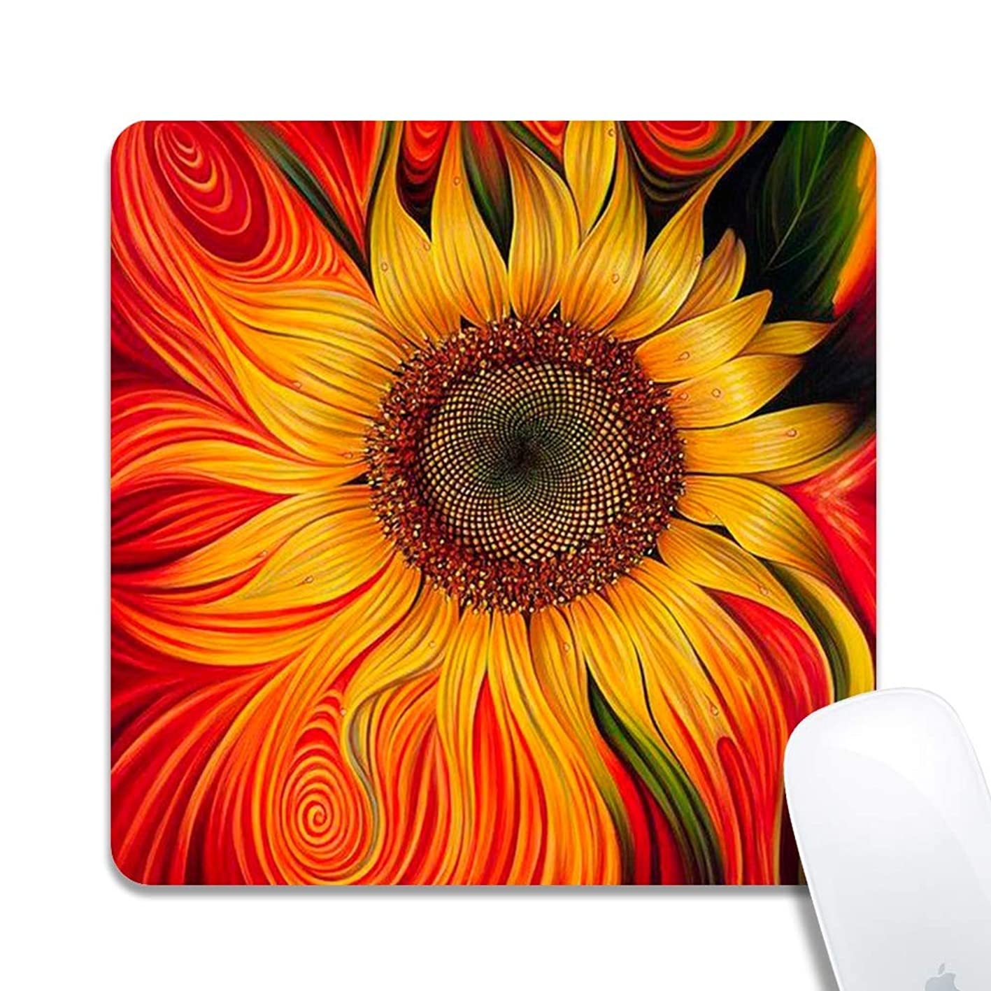 Sunflower Extended Ergonomic Gaming Mouse Pad,Square 200x200x3mm Mouse Pad Custom Design Rubber Square 200x200x3mm Mouse Pad-Sunflower blecgjpnmvz405