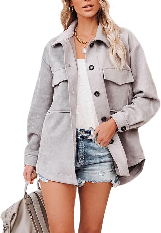 Zhiyouni Women's Casual Fall Faux Suede Lapel Button Up Jacket Shacket Coat