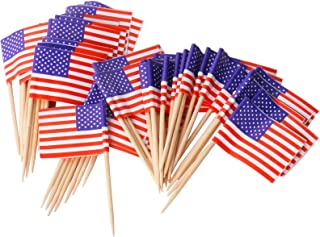 Paper American US Flag Stars and Stripes Fruit stick Cupcake Toppers Decorations, 100ct