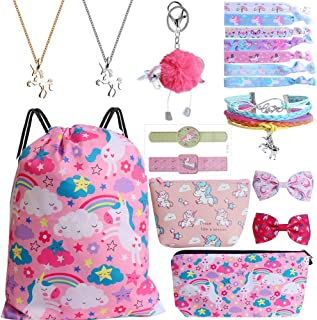 Mukum 12Pcs Drawstring Backpack for Unicorn Gift for Girl Include Makeup Bag Bracelet Necklace Hair Ties Cartoon Tattoo fo...
