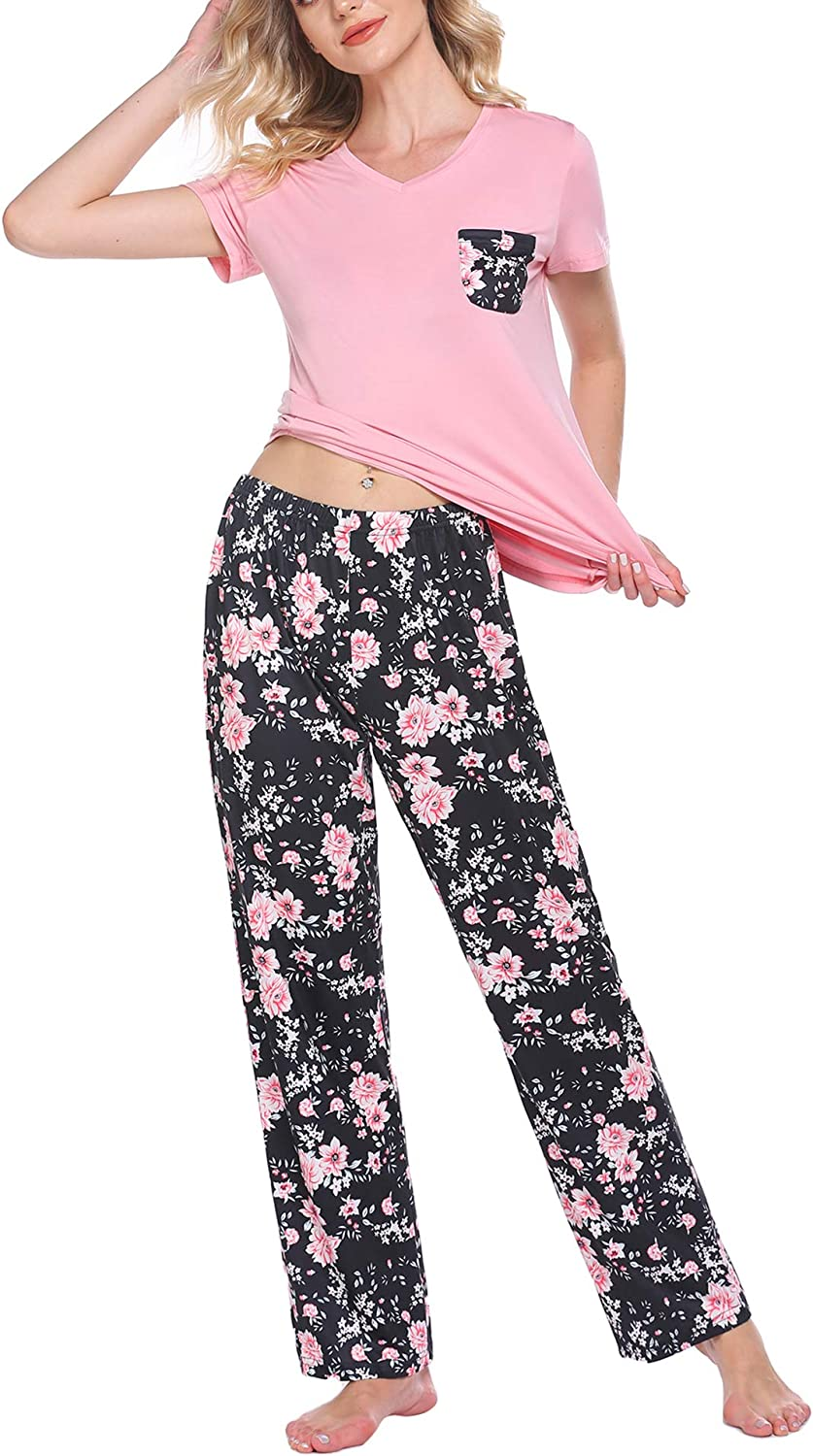 HOTOUCH Women's Pajama Set Short and Max 61% OFF Two-Piece Long Pants Sleeve Cheap mail order shopping