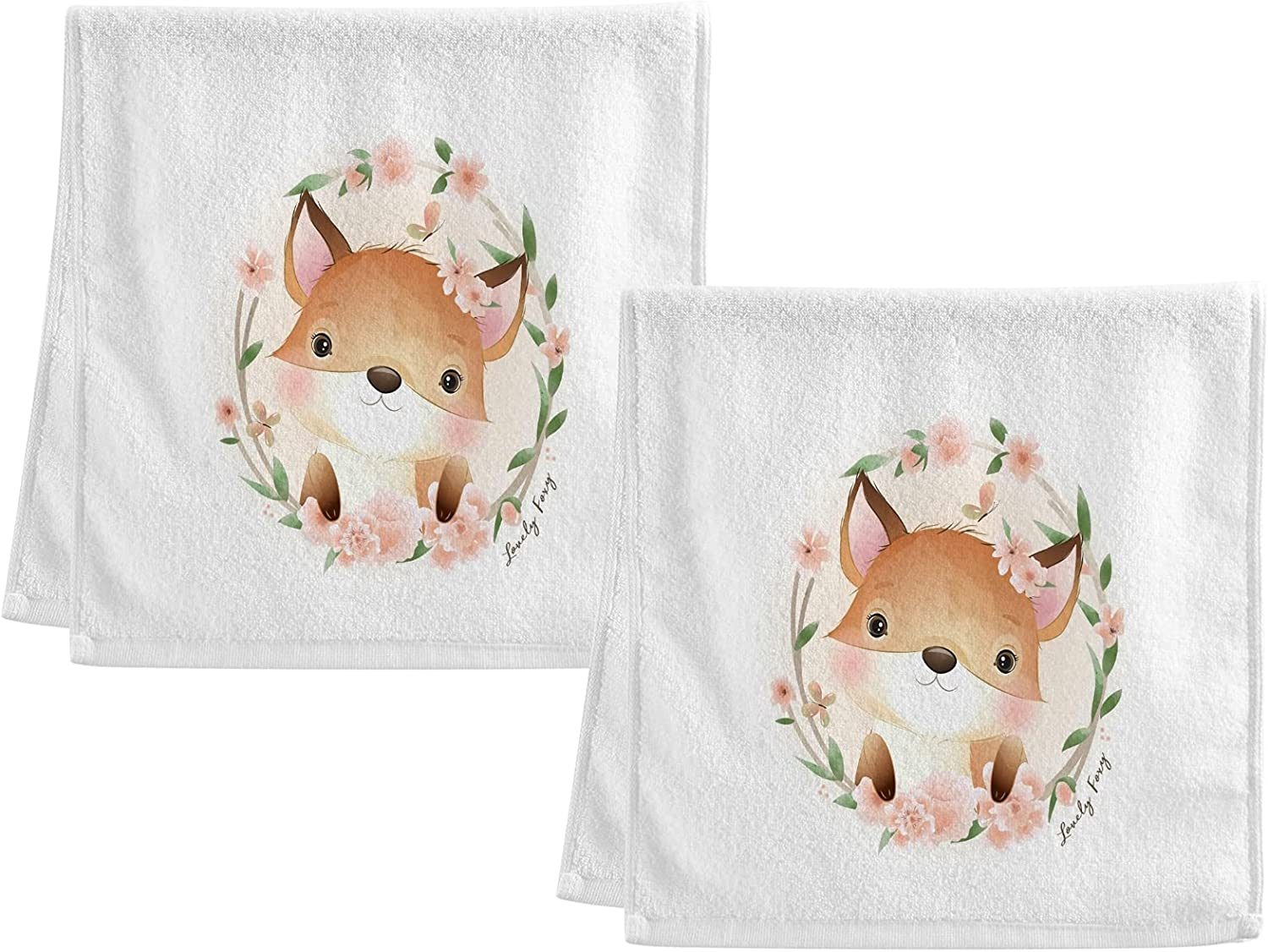 ALAZA Funny Fox Price reduction Flower Floral Cotton Hand of Hotel Set Rapid rise S Towel 2