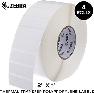 Zebra - 3 x 1 in Thermal Transfer Polypropylene Labels, PolyPro 3000T Permanent Adhesive Shipping Labels, Zebra Industrial Printer Compatible, 3 in Core - 4 Rolls