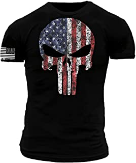 Stars and Stripes American Flag Warrior Skull Premium Athletic Fit T-Shirt