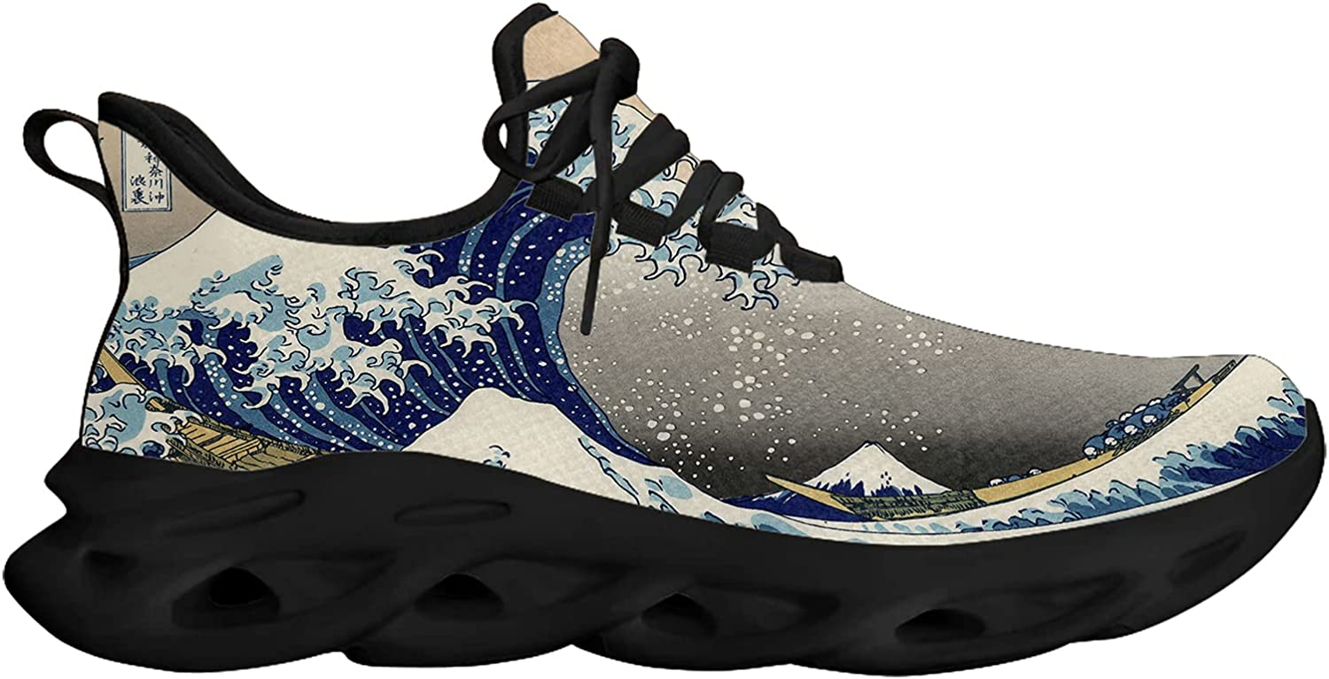 The Great Wave of Kanagawa Unisex Adult Athletic Walking Blade Running Tennis Shoes Fashion Sneakers