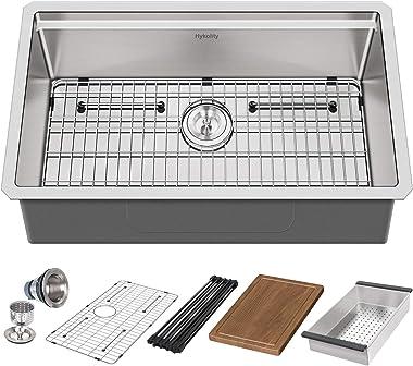 Hykolity 33-inch Workstation Kitchen Sink, 16 Gauge Undermount Stainless Steel Sink Single Bowl with Accessories