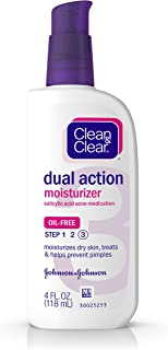 Clean & Clear Essentials Dual Action Face Moisturizer with Salicylic Acid Acne Medication, Oil-Free Facial Moisturizer for Acne-Prone Skin, 4 fl. oz