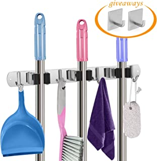 AURIDA Mop and Broom Holder Wall Mount/Stainless Steel Garden Tool Organizer/Broom Hanger Storage Tools Wall Mounted with 3 Racks 4 Hooks for Kitchen Garage & Office + 2 Adhesive Hooks for Towel Keys