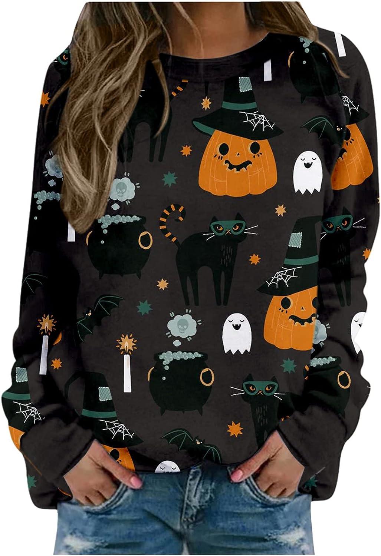 Women's Halloween Pumpkin Face Long Sleeve Sweatshirts Lightweight Casual Pullover Tops