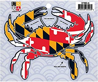 Artisan Owl Maryland State Flag Crab Cut-Out Adhesive Souvenir Bumper Sticker
