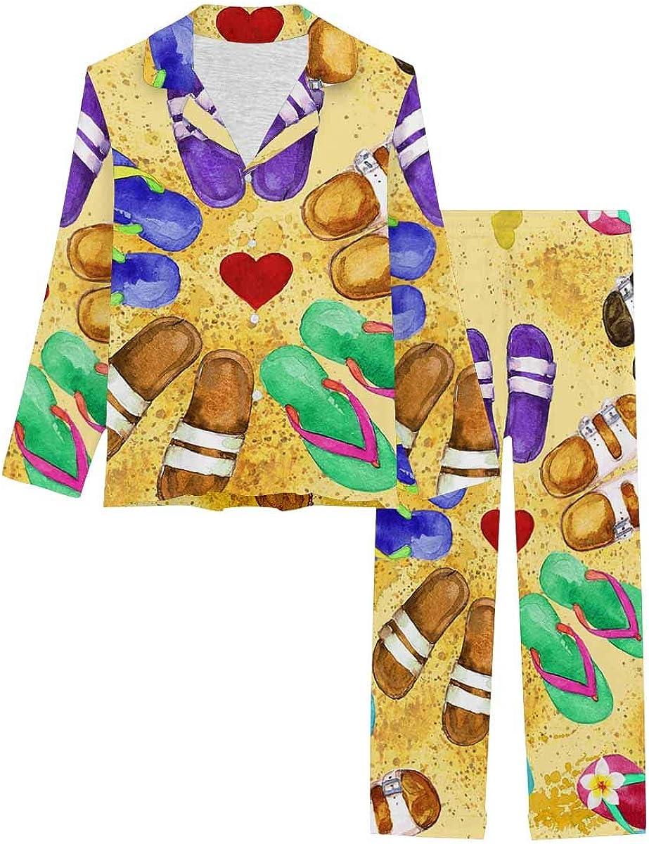 InterestPrint Long Sleeve Button Down Nightwear with Long Pants Flip Flops Watercolor Pattern