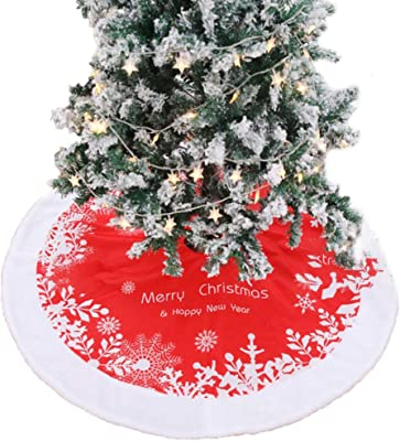 Doxishruky Christmas Tree Skirt 48 Inch 122cm Xmas Holiday Party Decoration Circular Red And White Snowflake Printing Christmas Tree Skirts Decor Home Kitchen