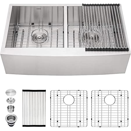 "Double Farmhouse Sink - Kichae 33""x20"" Kitchen Sink Apron Front 50/50 Stainless Steel 18 Gauge Double Bowl Farm Kitchen Sink"
