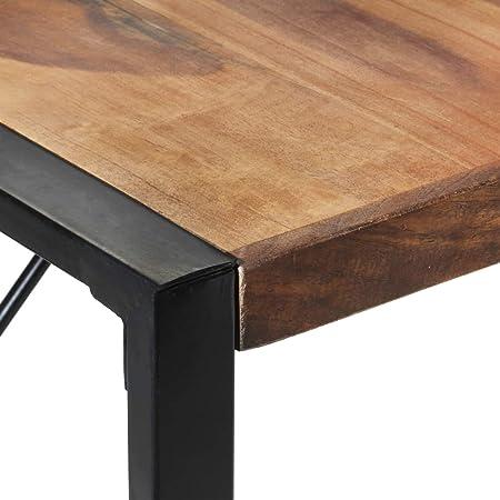 Tidyard Table de Salle à Manger Rectangulaire, Table de Repas Meuble à Manger, Table Console Extensible 140x140x75 cm Bois Solide