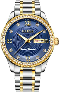 Luxury Men's Stainless Steel Gold/Blue/White/Black Dial Diamond Quartz Wrist Watches, Waterproof & Luminous & Date-Day Windows, Father's Day Gift Watches