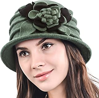 1ba89334029 Lady 100% Wool Floral Bucket Cloche Bowler Hat Felt Dress Hat XC020