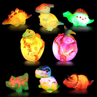 Dinosaur Toy Bath Floating Toy with Auto Flashing Early Learning Toy Dinosaur Theme Model 8 Pcs Bathtub Shower Toy Gift for Kids&Pets