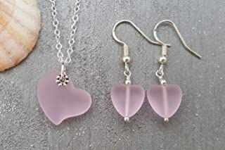 "product image for Handmade in Hawaii, Pink Hearts,""October Birthstone Color"" pink sea glass Necklace+Earrings Set, gift box,sea glass earrings, necklace and earrings set"