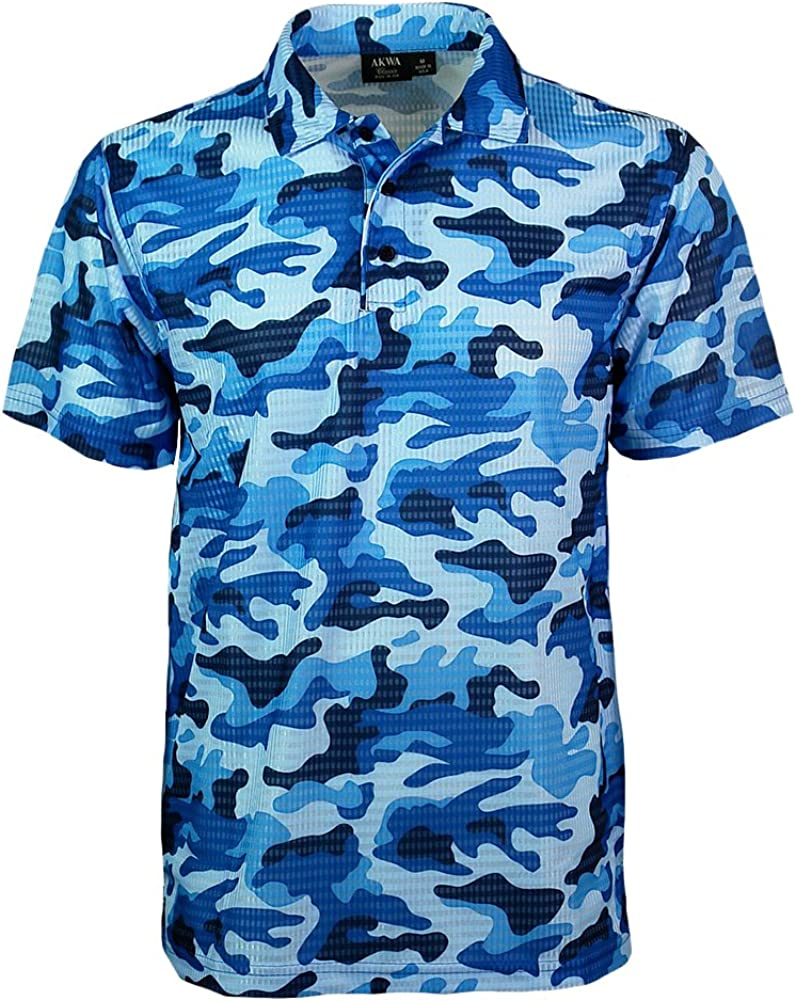 Akwa Men's Made in USA Camouflage with 5 Year-end annual account popular Moisture Shirt Camo Polo