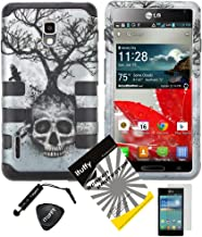 4 items Combo: ITUFFY (TM) LCD Screen Protector Film + Mini Stylus Pen + Case Opener + Silver Blue Greyish Tree Skull Design Rubberized Hard Plastic + Soft Rubber TPU Skin Dual Layer Tough Hybrid Case for Boost Mobile / US Cellular LG Optimus F7 US780 LG870