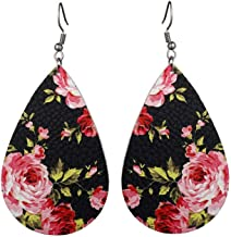 fashion new artificial leather teardrop flower earrings Lightweight Sweet Retro Long Hanging Earrings for women jewelry