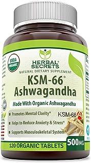 Herbal Secrets Certified Organic KSM-66 Ashwagandha 500 Mg 120 Organic Tablets