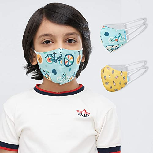 Welspun Health Anti Bacterial Reusable Cotton Mask 2Pc With Free Mask fit Adjuster for kids
