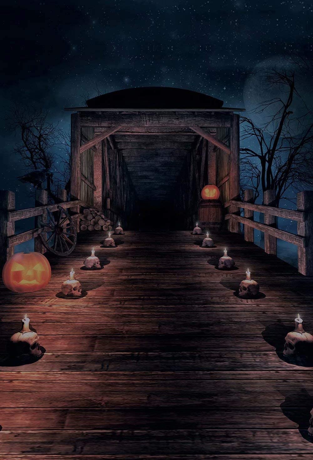 HUAYI Vinyl Halloween Backdrop Pumpkin Lantern Halloween Horrible Gallery Decoration Night Scene Background Photography for Halloween Day Photoshoot Backdrops Studio Props US-W-168-5/×7ft