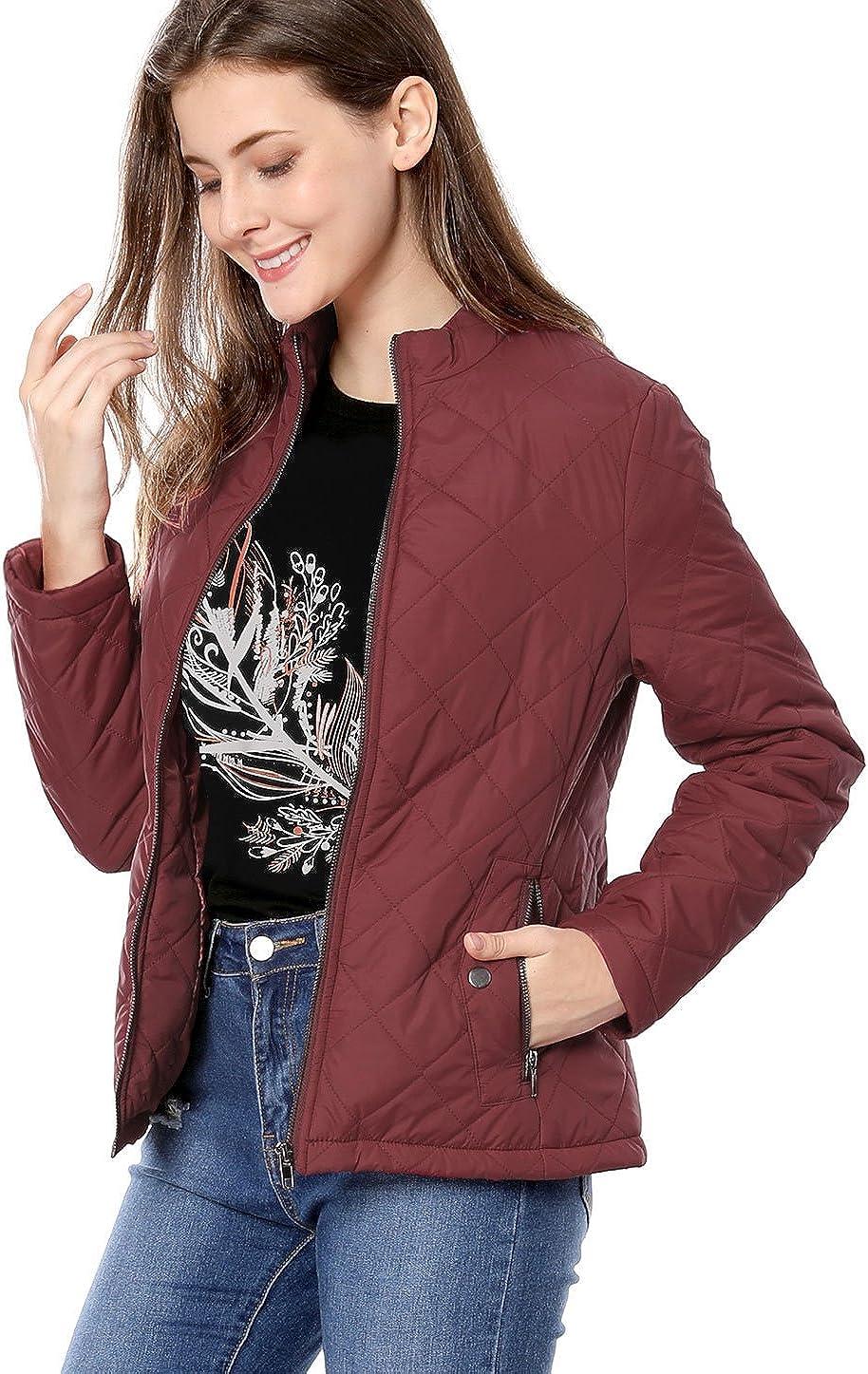 Allegra K Women's Stand Collar Zip Lightweight Quilted Jacket XS Red