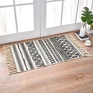 INKARO Tapis en coton tissé avec pompon - Pour cuisine, salon, chambre, buanderie, entrée (60 x 90 cm, triangle)